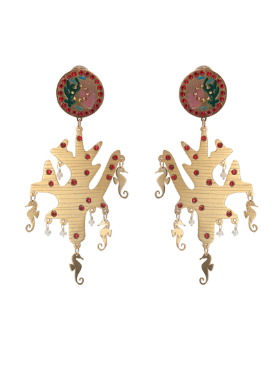 Coral Earrings with Seahorses and Pearls - Boho Hunter