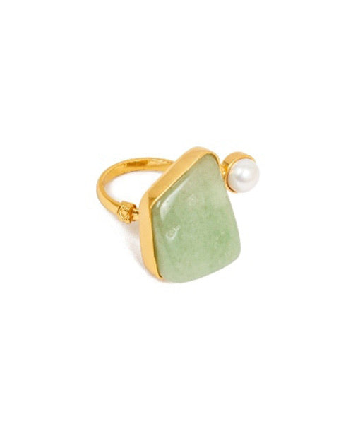 Clear Jade and Pearl Ring