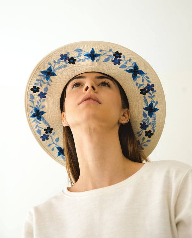 Embroidered Inner Brim Two Tone Panama Blue