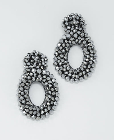 Beaded Silver Earrings