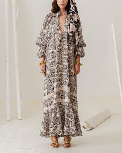 Manantiales Dress Ethnic Feathers Cream - Boho Hunter
