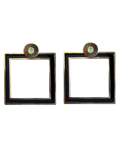 Large Square Earrings Black