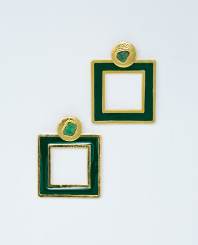 Small Square Earrings Green