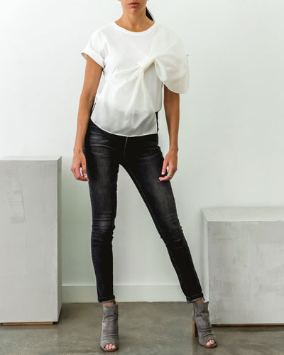 Gazar Bow Tee White - Boho Hunter