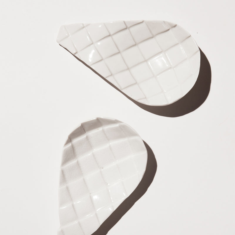 Handmade optuntia spoon rest in gloss white by Caro Gates