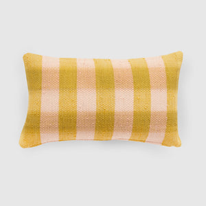 Handmade rectangle textured Cushion in mustard and blush
