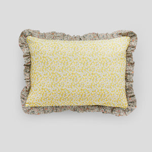 Liberty print rectangle Cushion in Ffion floral yellow