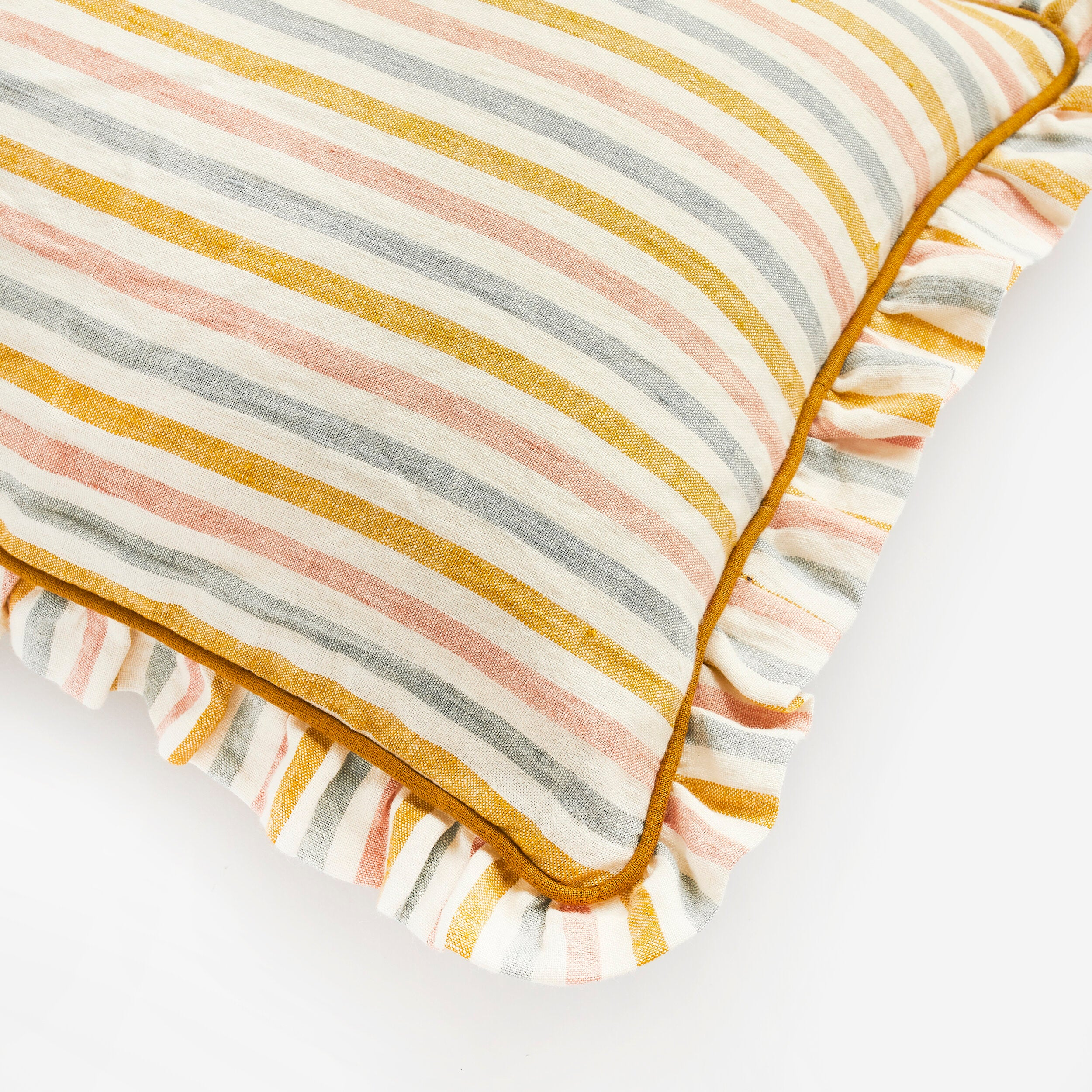 Handmade stripe cushion with frill trim