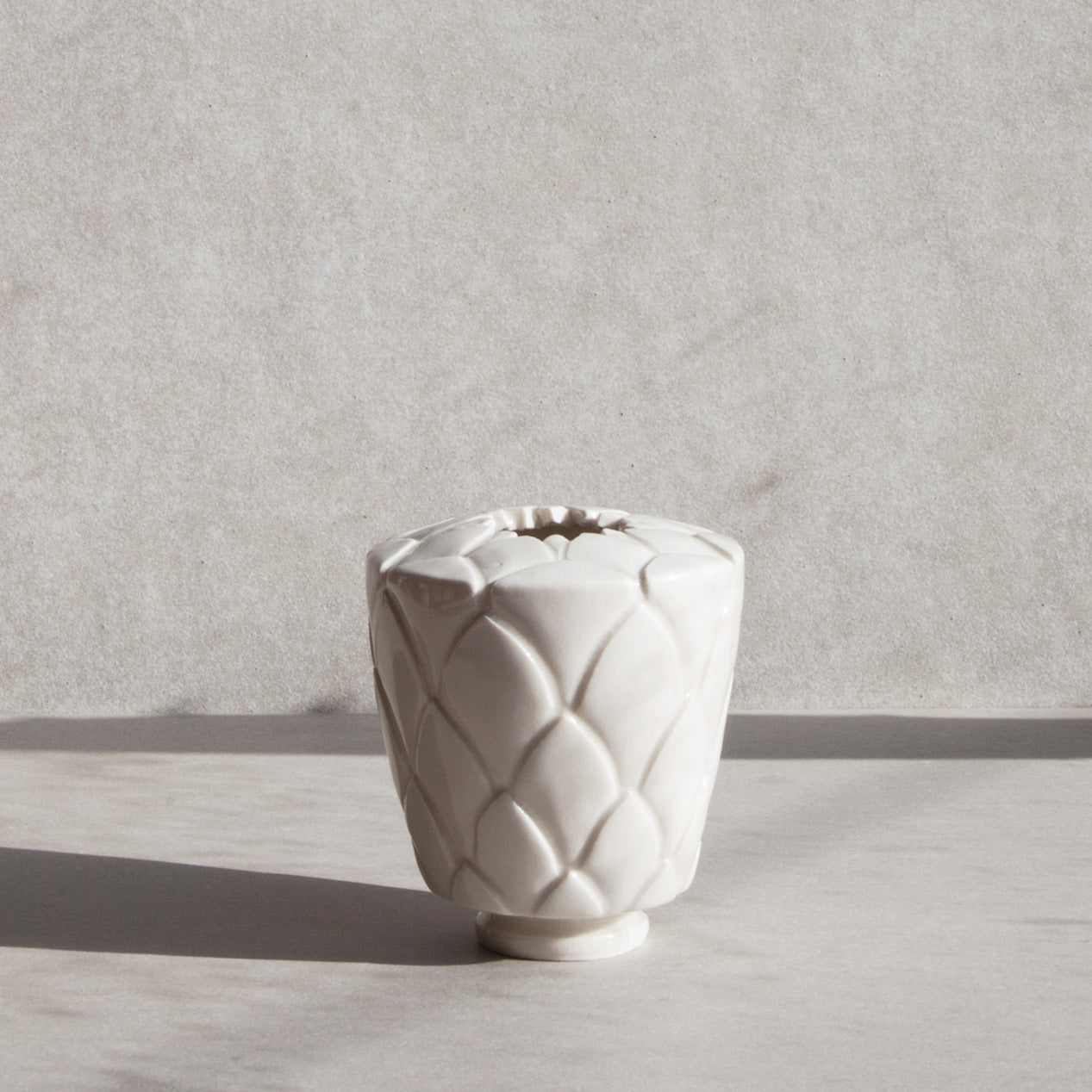 Handmade Protea pot in gloss white by Caro Gates