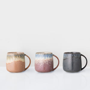 Set of 3 multi coloured galzed mugs