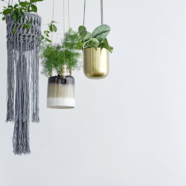 Handmade Stoneware glazed plant hanger with bead detail