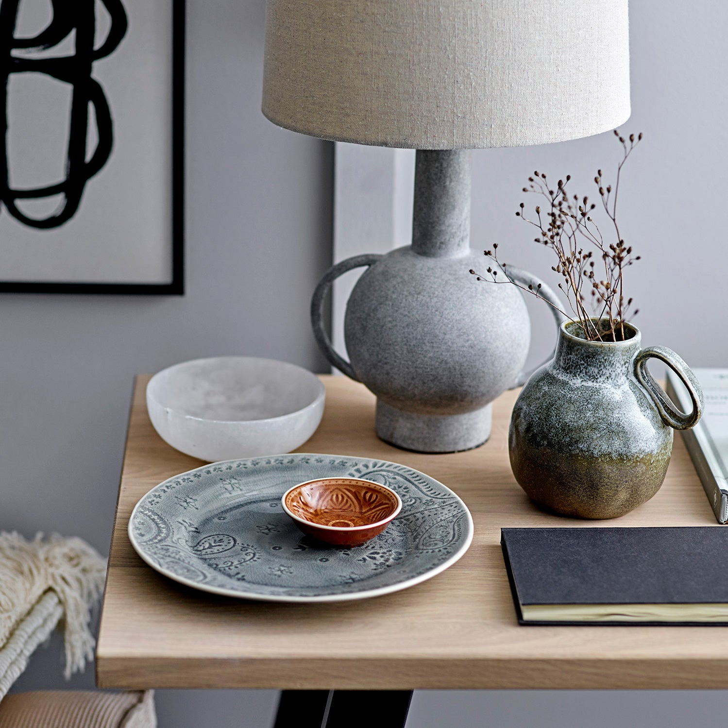 Grey Terracotta table lamp with linen lampshade