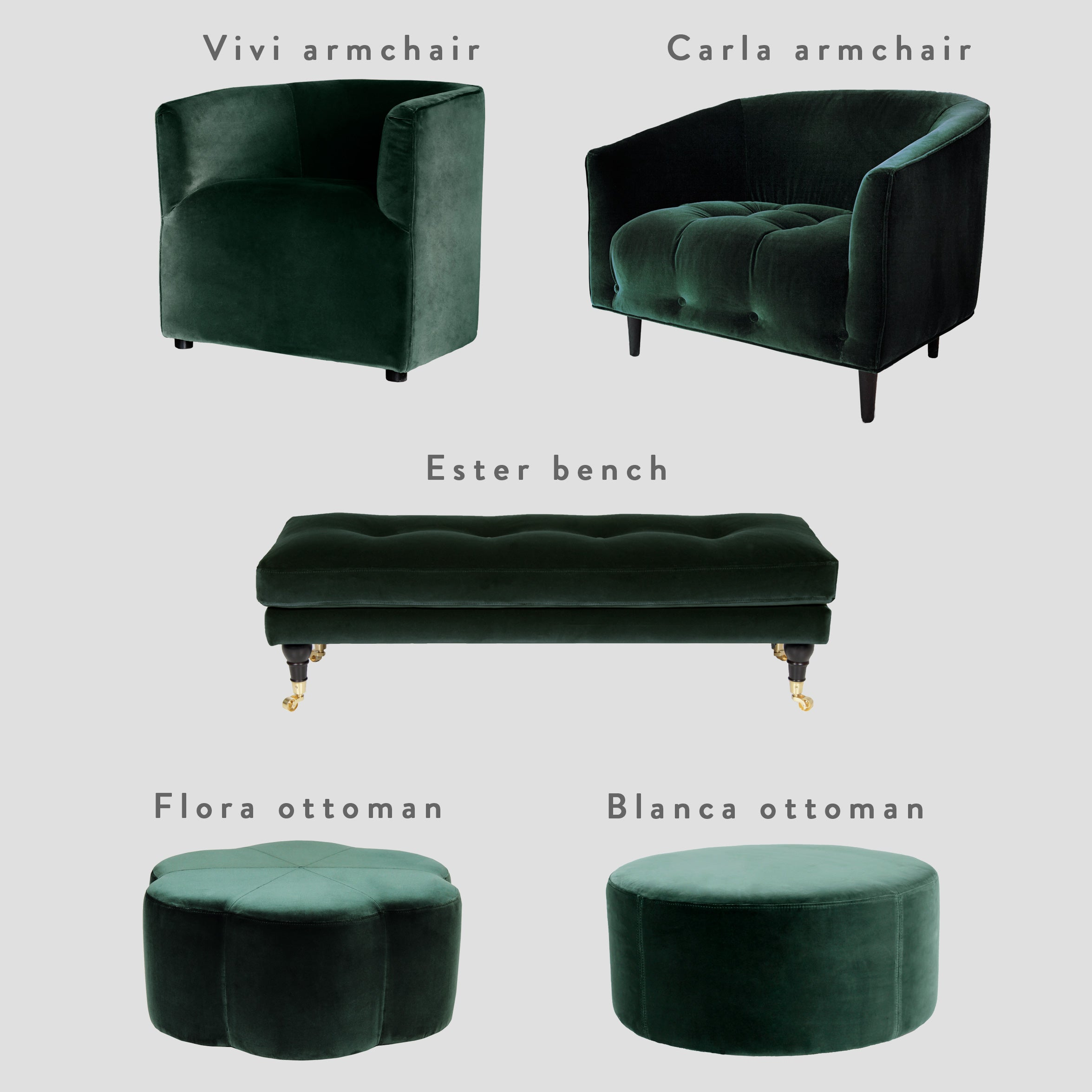 Furniture velvet fabric swatch – Emerald Green