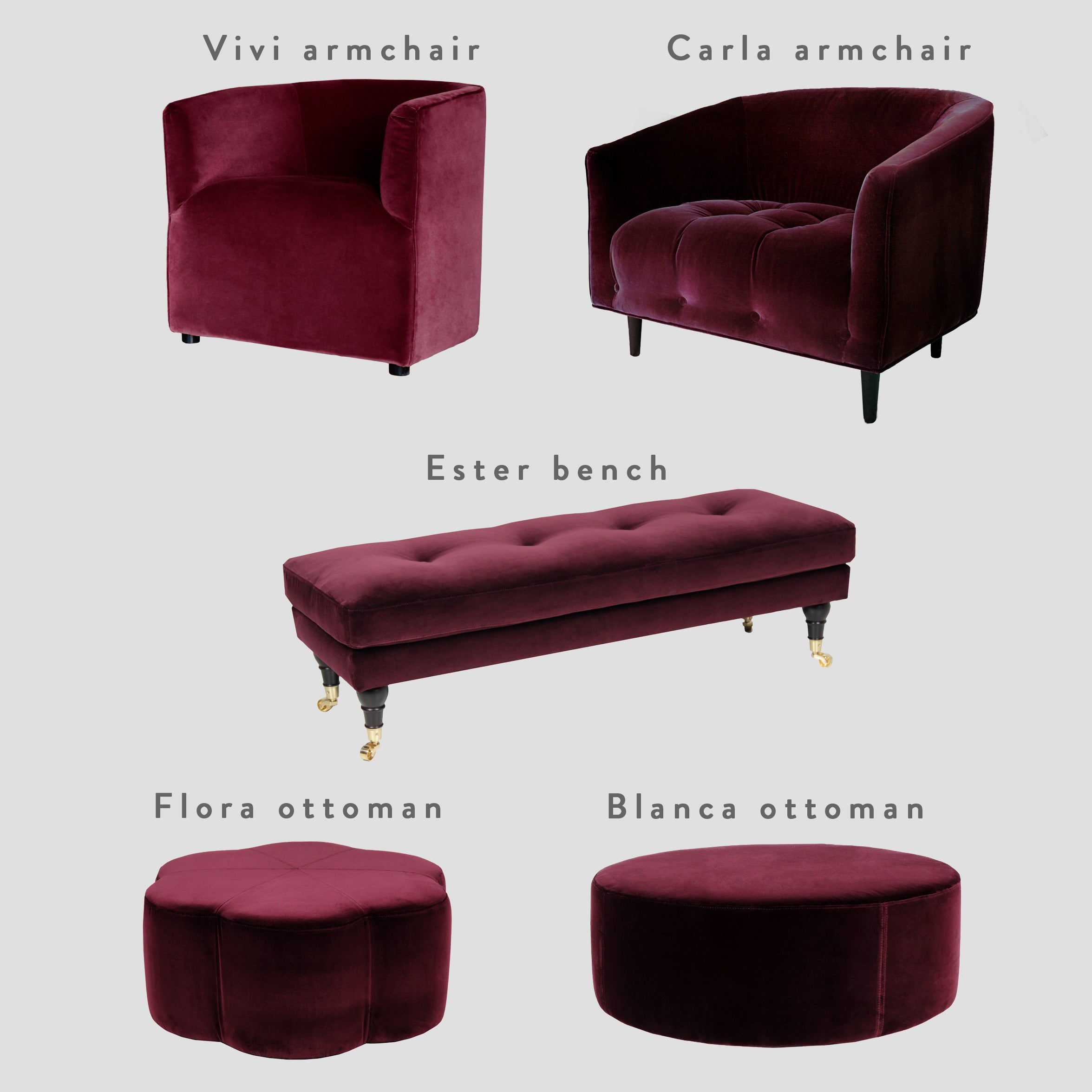 Furniture velvet fabric swatch – Ruby Red