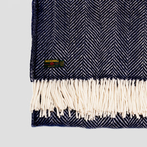 Fishbone Navy New Wool Throw