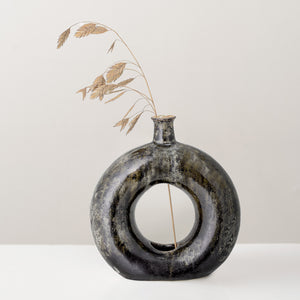 Handcrafted green glazed decorative stoneware vase
