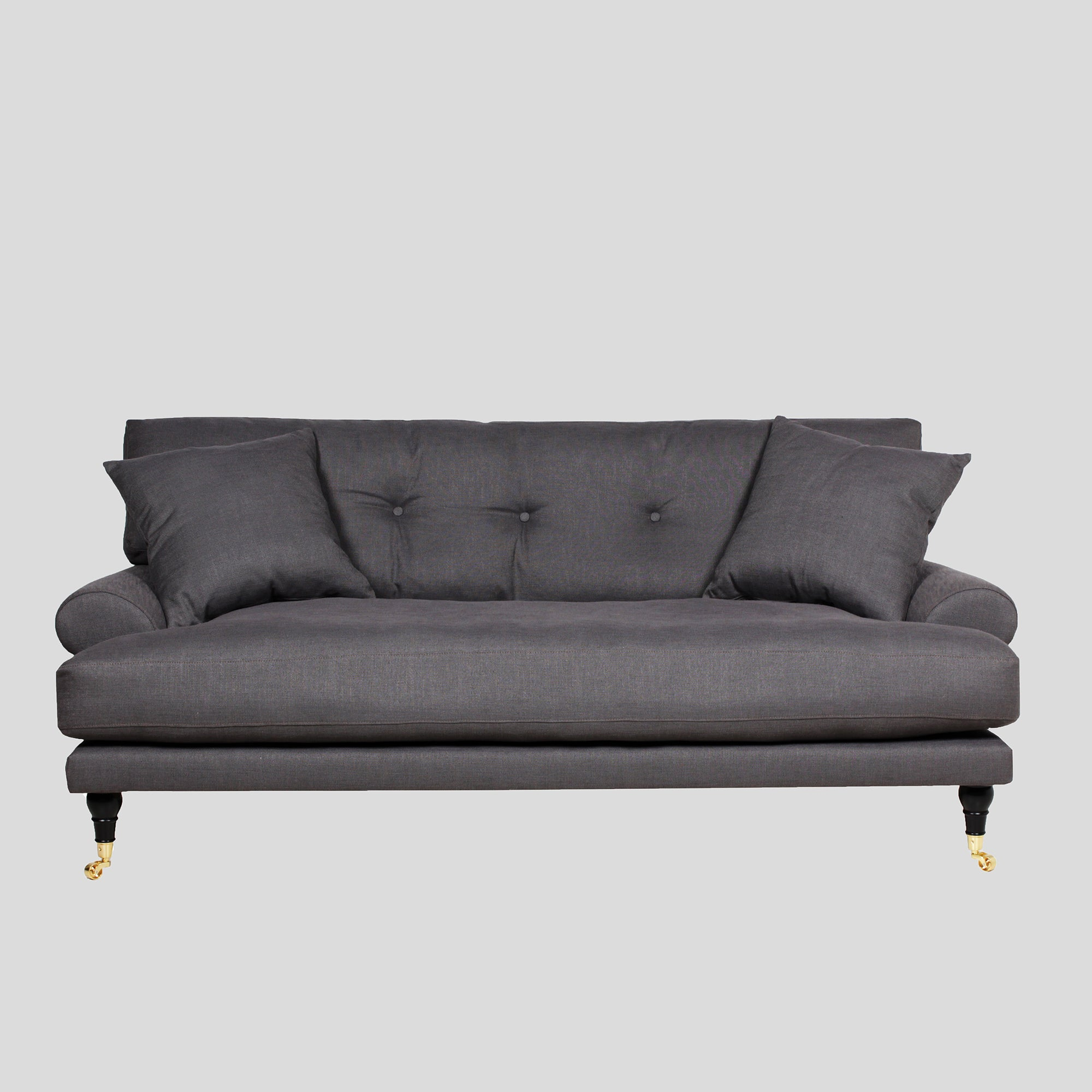 Blanca dark grey linen sofa