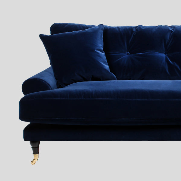 Indigo Blue Velvet Sofa In Two Three Seat on Wooden Legs Couch