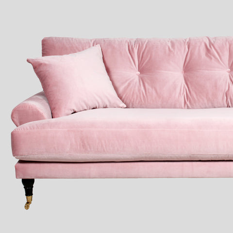 Dusty pink velvet sofa