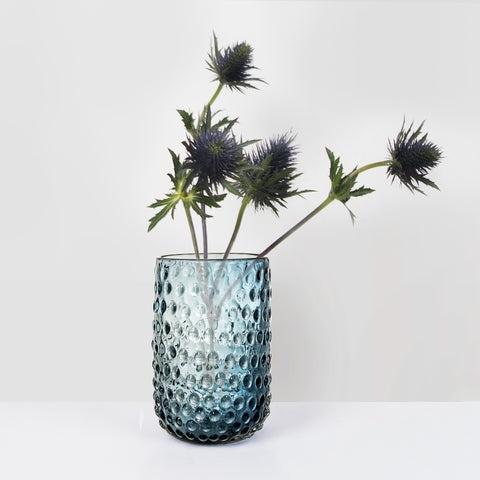 Blue Glass dot texture Vase