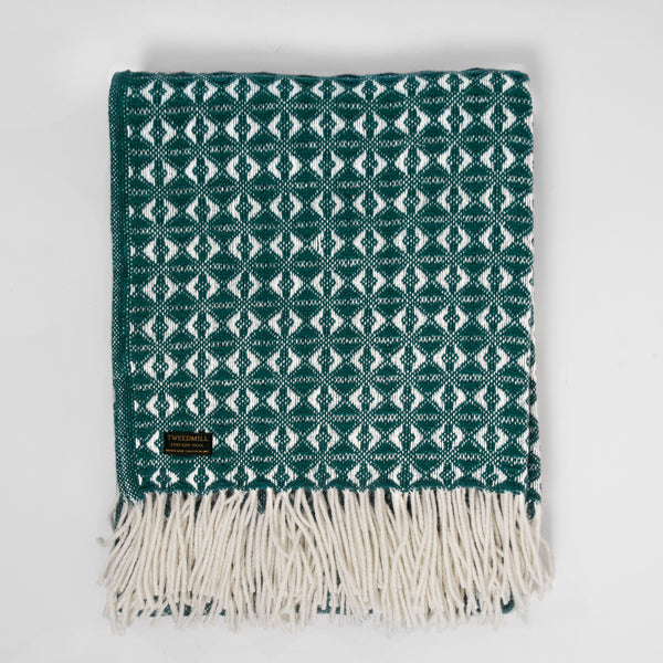 Cobweave Emerald New Wool Throw