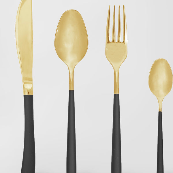 Gold and matt black cutlery set