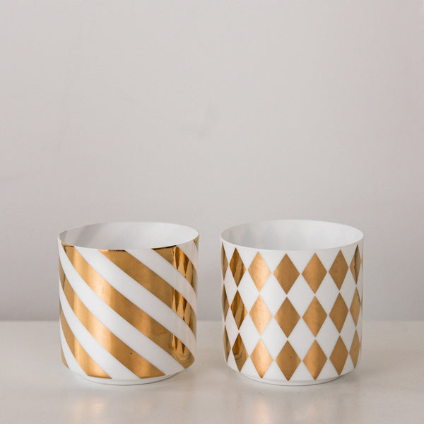 porcelain white and gold votive