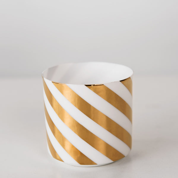 Porcelain white votive with gold detail
