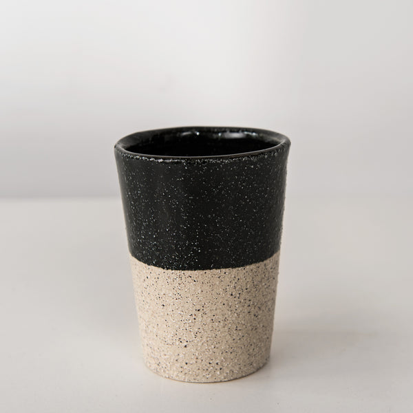 black glaze stoneware coffee cup