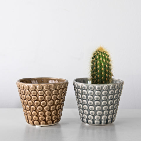 Dot textured Mini glazed pot