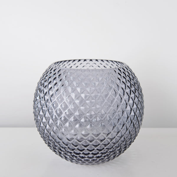 Round grey glass vase
