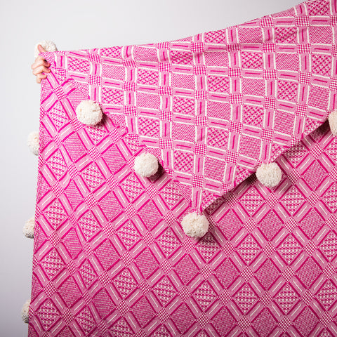 Handmade Jacquard Throw with pompoms