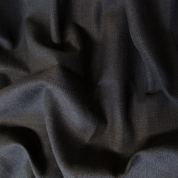 Dark grey linen fabric swatch