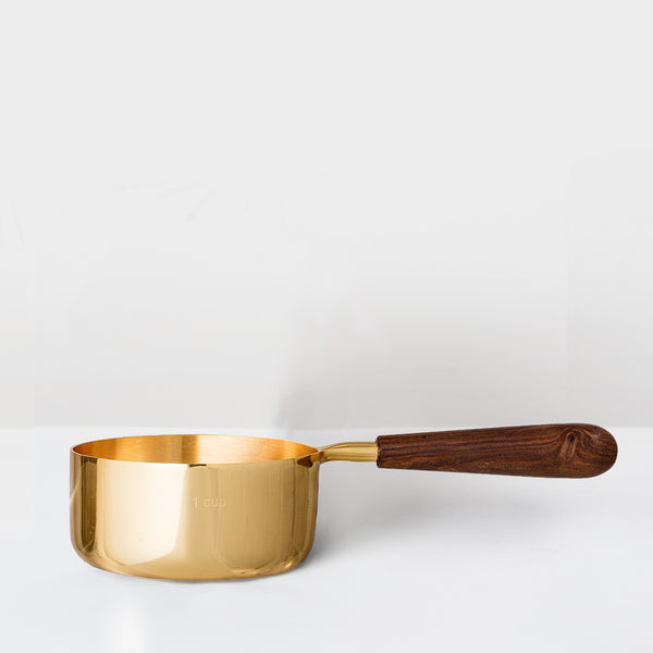 Gold tone serving pot with mango wood handle (last 1)