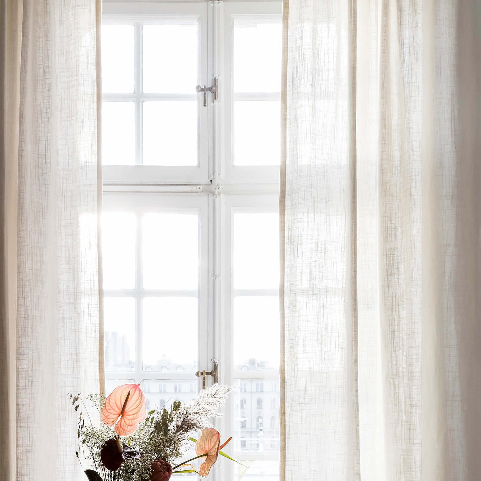 Curtain linen fabric sample – Off-white