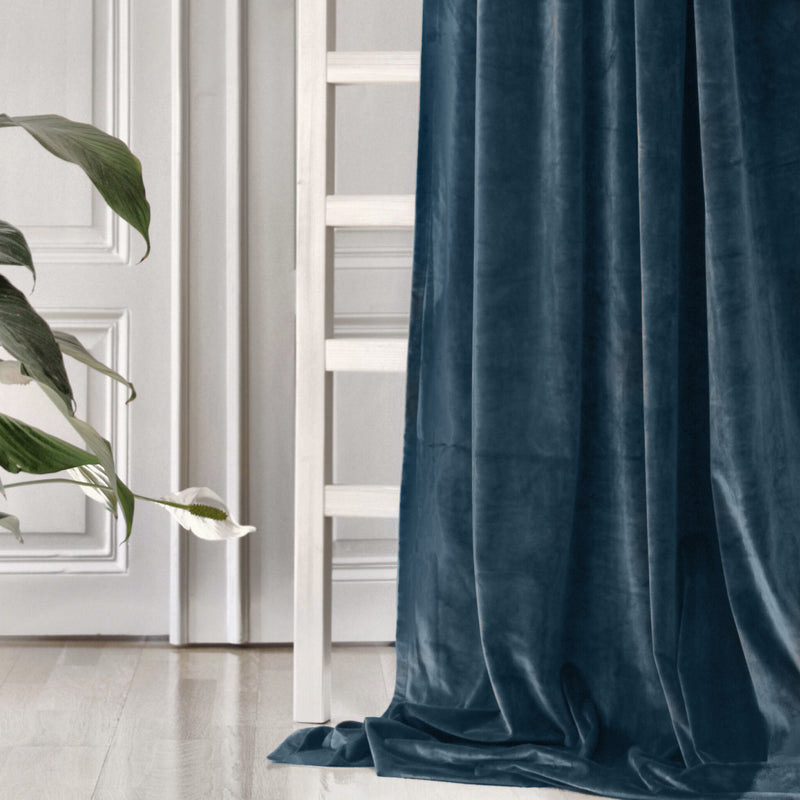 Curtain velvet fabric sample – petrol