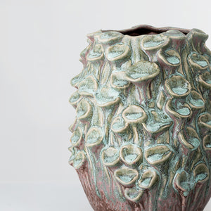 Handcrafted large green glazed stoneware vase