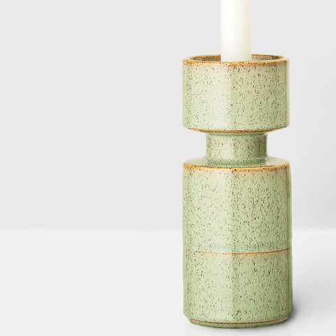 Handcrafted speckle green glazed candlestick
