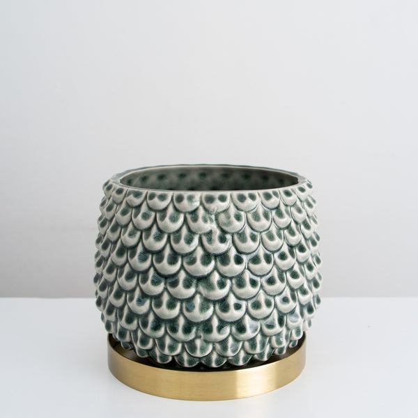 Textured glazed plant pot