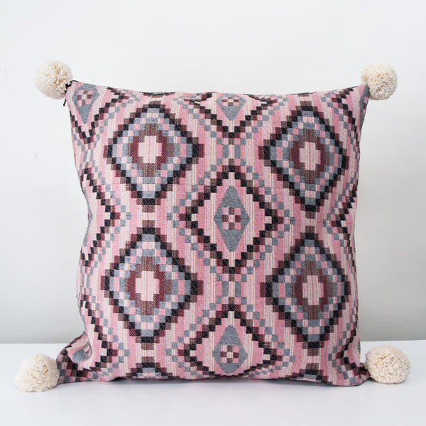 Handmade Square Jacquard Cushion with pompoms
