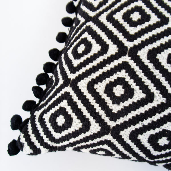 Handmade Large Jacquard Cushion with pompoms