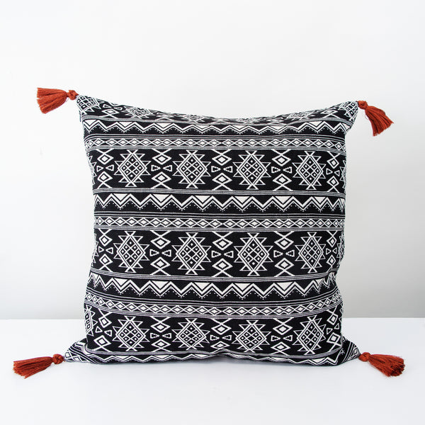 Handmade Square Jacquard Cushion with red tassels