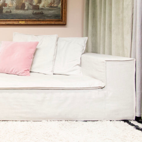 Ex-Display Luca Grande sofa in off-white linen - four seat