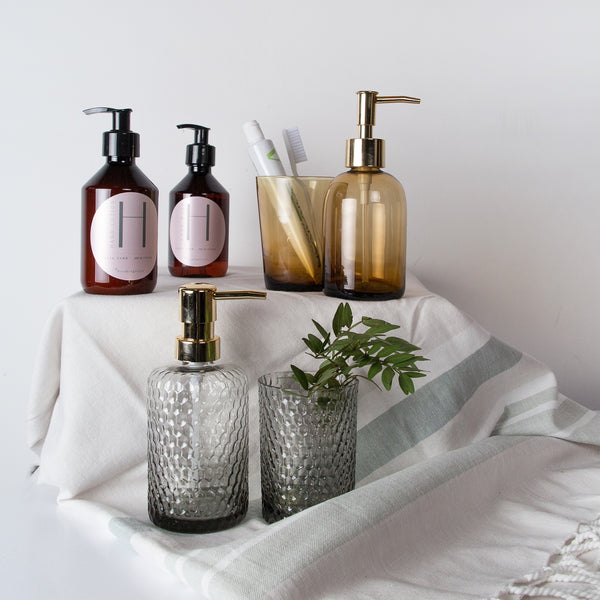 Amber Glass Bathroom Set
