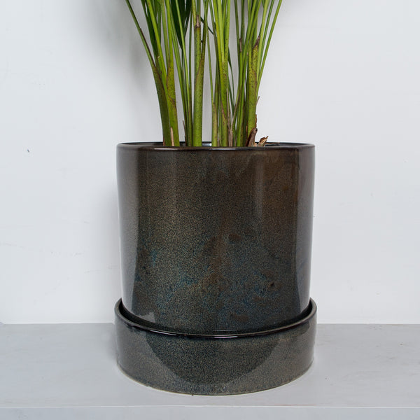 Handmade XXL Stoneware plant pot with tray