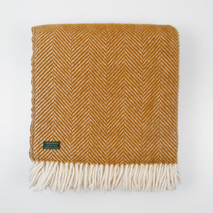 Fishbone Mustard yellow New wool Throw
