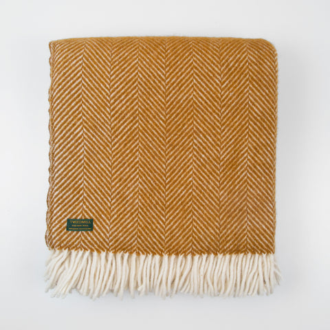 Fishbone Mustard yellow New wool Throw (last 1)
