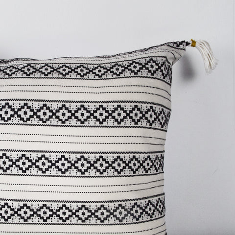Handmade Square Jacquard Cushion with tassels