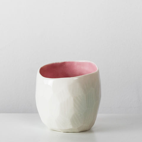 Handmade White & pink diamond ceramic espresso cup By SkandiHus