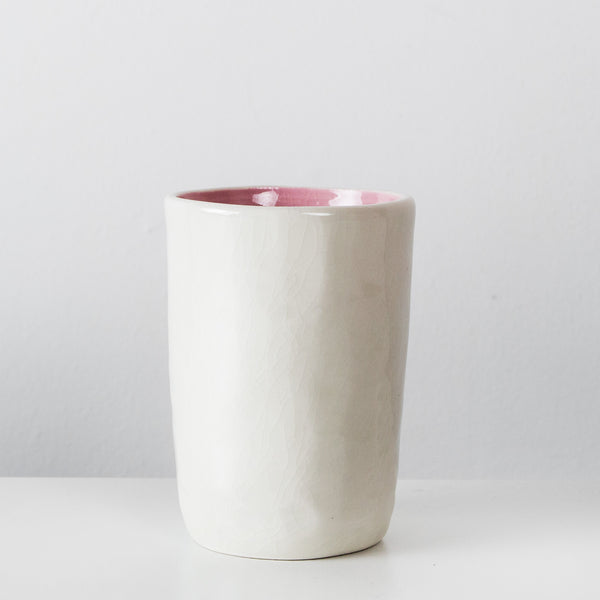 White & pink glazed ceramic mug By SkandiHus